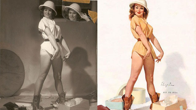 Gil Elvgren's Pin-Up Girls Before & After